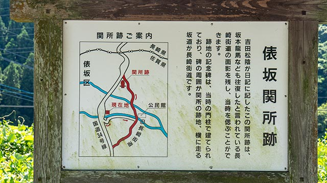 俵坂関所跡の案内板