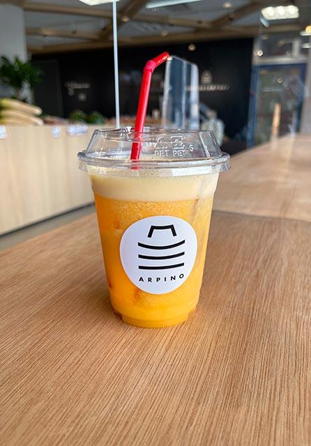 唐津市ふるさと会館アルピノのフレッシュなオレンジジュース